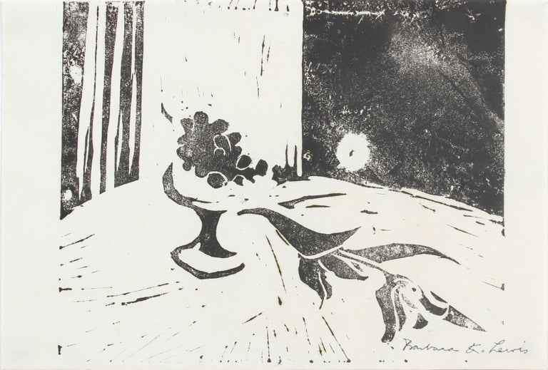 Barbara Lewis Abstract Print - Late 20th Century Woodcut Print of A Still Life