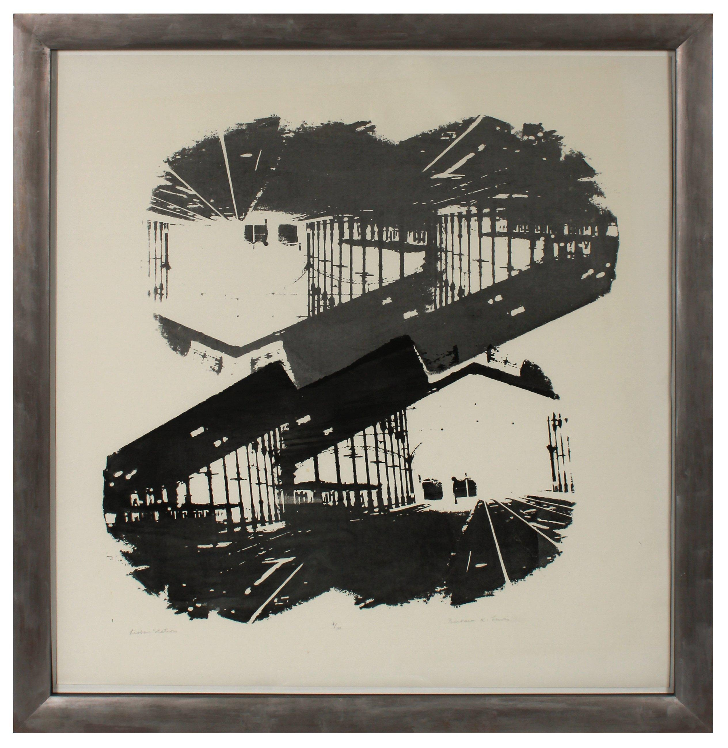 """Lisbon Station"" 1971 Graphic Black and White Silkscreen Print"