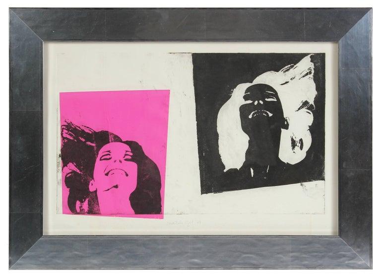 "Barbara Lewis Portrait Print - ""Martin's Girl"" Pop Art Portrait Screen Print in Pink & Black, 1968"