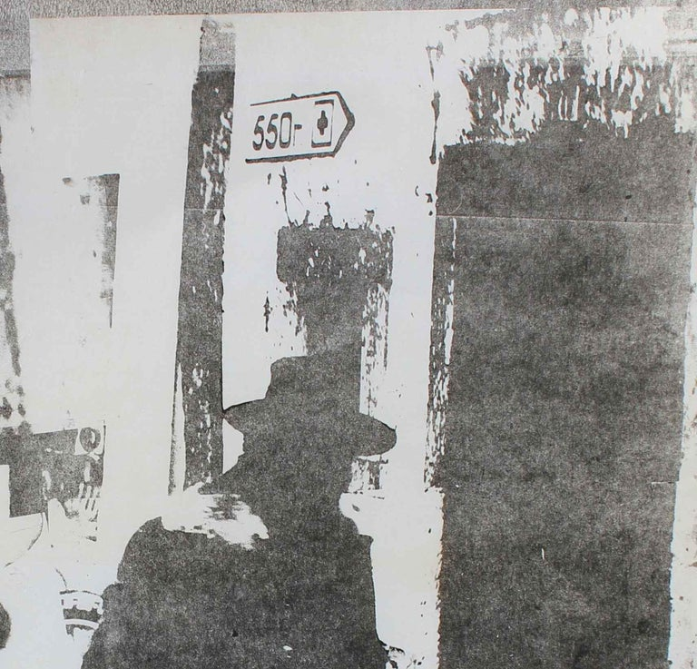 Men with Hats in Cityscape, Photo Emulsion Print, Circa 1970s - Gray Portrait Print by Barbara Lewis