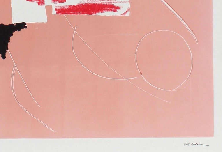 Minimalist Pink and White Monotype on Paper - Print by Barbara Lewis
