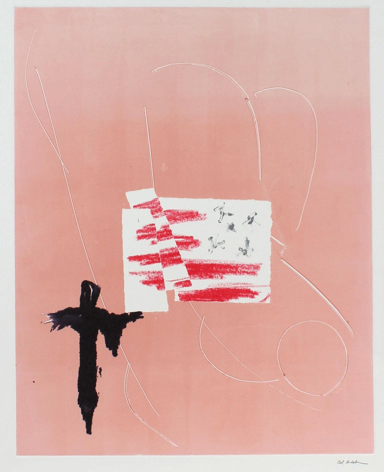Barbara Lewis Abstract Print - Minimalist Pink and White Monotype on Paper