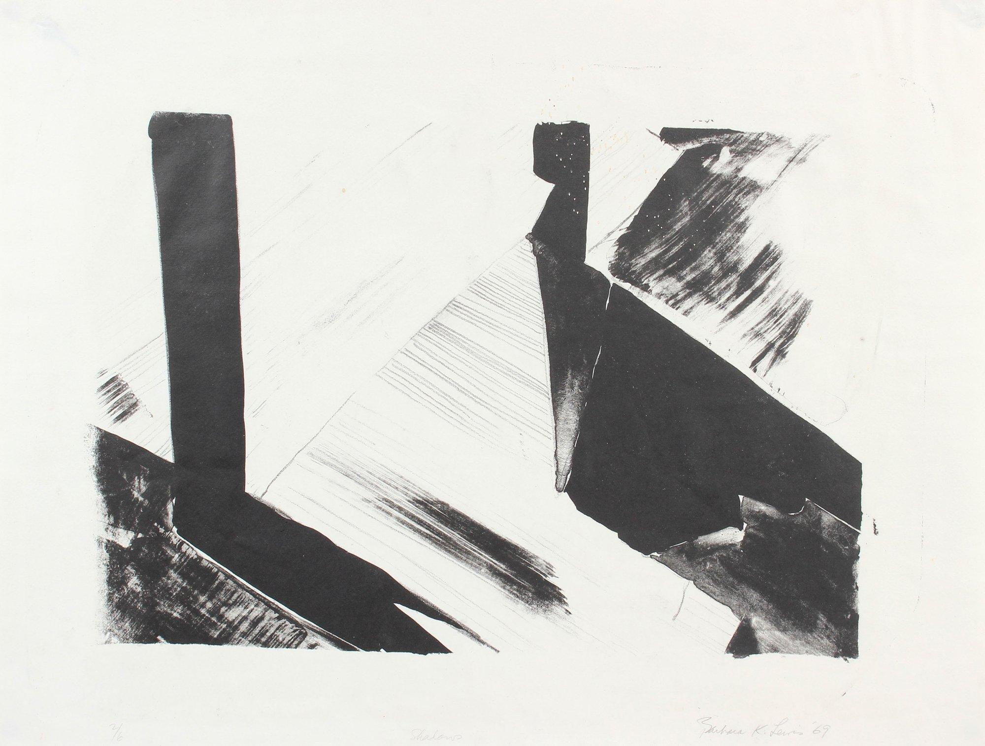 """Shadows"" 1969 Stone Lithograph Minimal Abstract in Black and White"