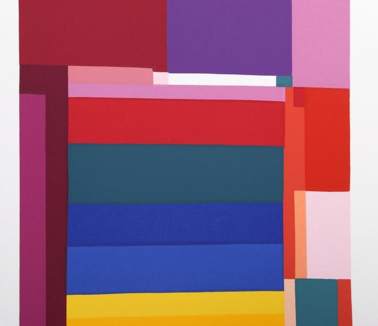 Rainbow I, Colorful Geometric Silkscreen - Print by Barbara Lynch Zinkel