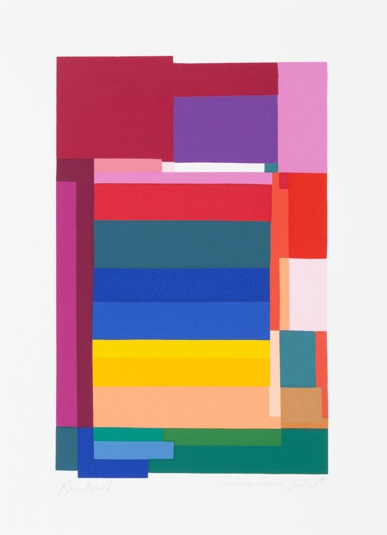 Barbara Lynch Zinkel Abstract Print - Rainbow I, Colorful Geometric Silkscreen