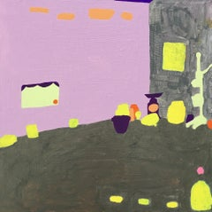Recollection 131 (Stony Creek), abstract pink and yellow painting of interior