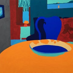 Recollection 136 (Monson), blue and orange abstract painting of interior