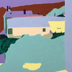 Recollection 138 (Monson), purple and green abstracted houses
