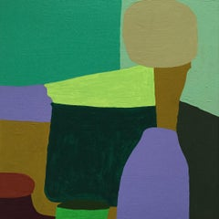 Recollection 16 (Stony Creek), green and purple abstract painting