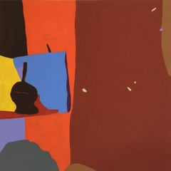 Recollection 36 (Stony Creek), red and orange abstract painting of interior