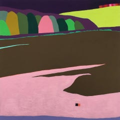 Recollection 44 (Mt. San Angelo), pink and brown abstract landscape painting