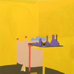 Recollection 50 (Mt. San Angelo), yellow abstract painting of home interior