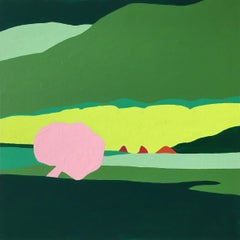 Recollection 93 (Brush Creek), abstract painting of green hills and pink tree