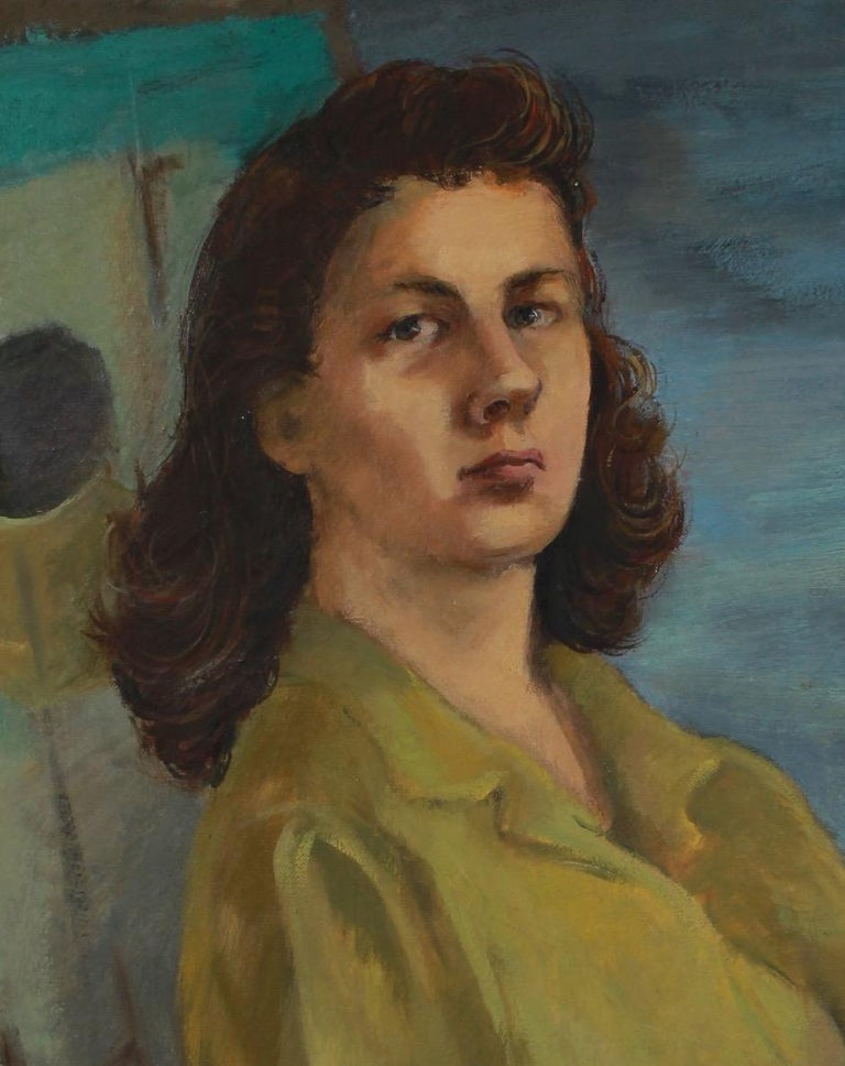 Intense Portrait of a Woman 1944-45 Oil - Painting by Barbara Rogers Houseworth
