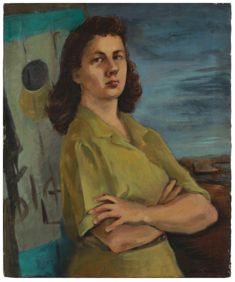 Barbara Rogers Houseworth Figurative Painting - Intense Portrait of a Woman 1944-45 Oil