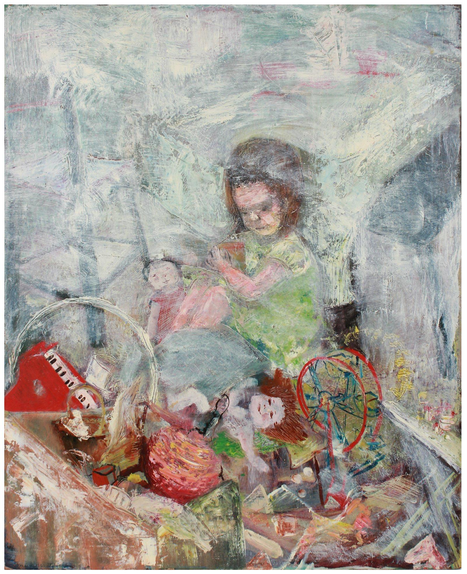 Still Life with Toys & Doll 1950s Oil