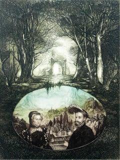 Renaissance fantasy - XX Century, Figurative Etching Print, Portrait, Landscape