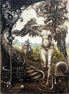 Temptation - XX Century, Figurative Etching Print, Nude, Landscape, Fantasy
