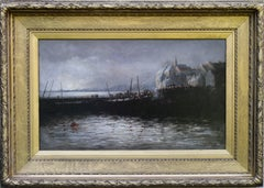 Harbour - Scottish 19thC art Impressionist oil painting marinescape boats
