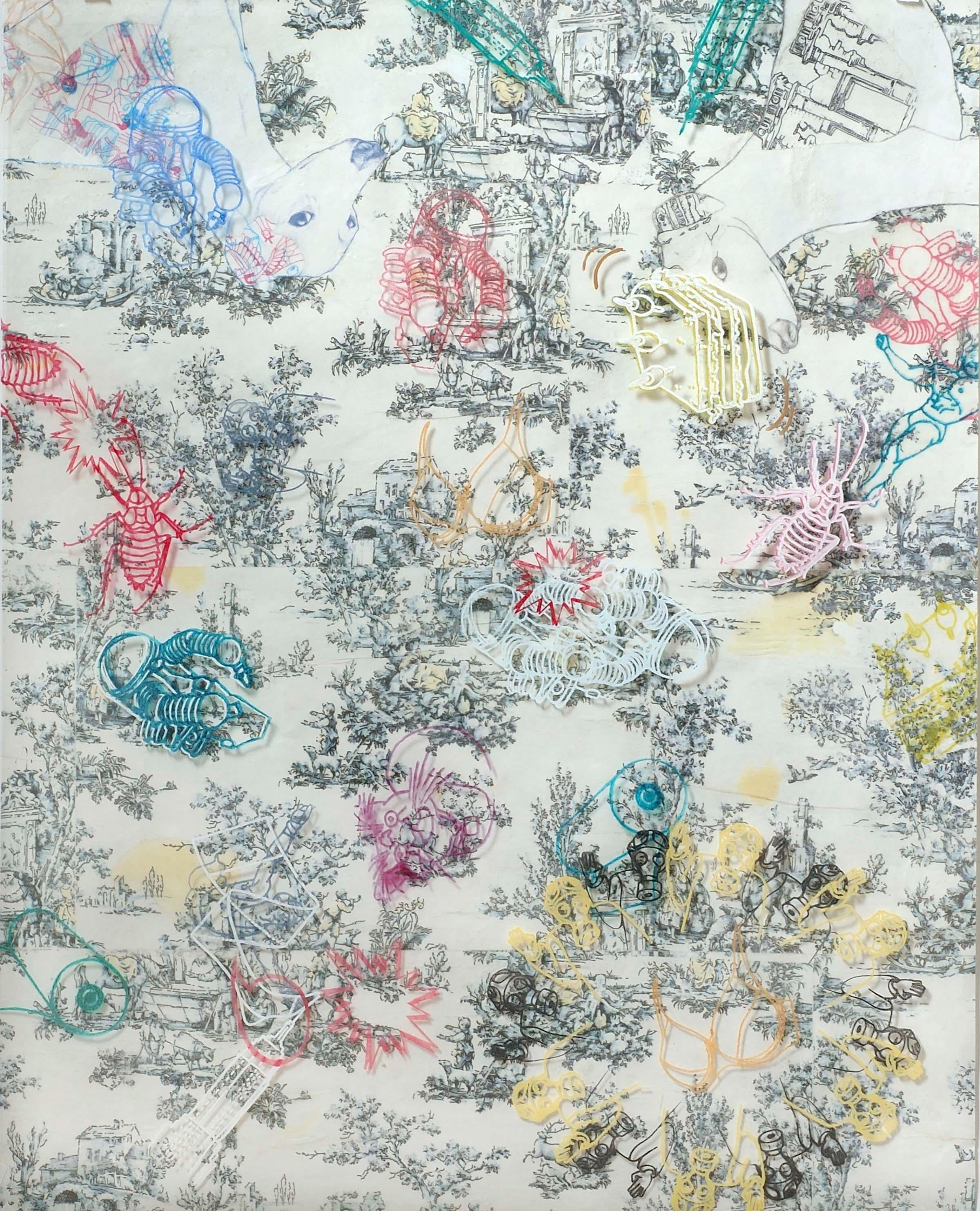 Biddles Toile, abstracted mixed media work, animals and flowers