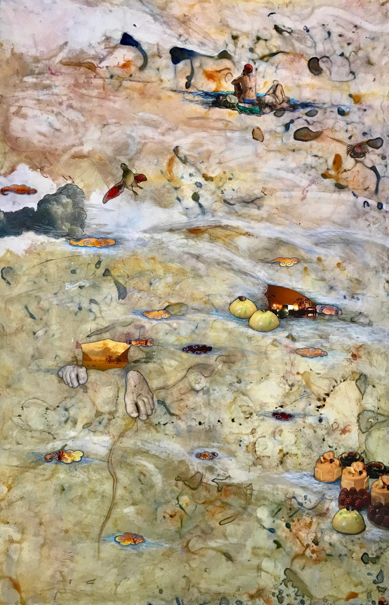 Barbara Strasen Animal Painting - Flux, neutral beige-colored mixed media collage, abstract
