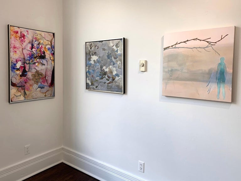 Acrylic, ink, and collage on Yupo mounted on museum board. Framed.  Barbara Strasen creates imagery plumbed from the depths of a fertile imagination and a trove of rich memories, in combination with signs, symbols and pictures inspired by