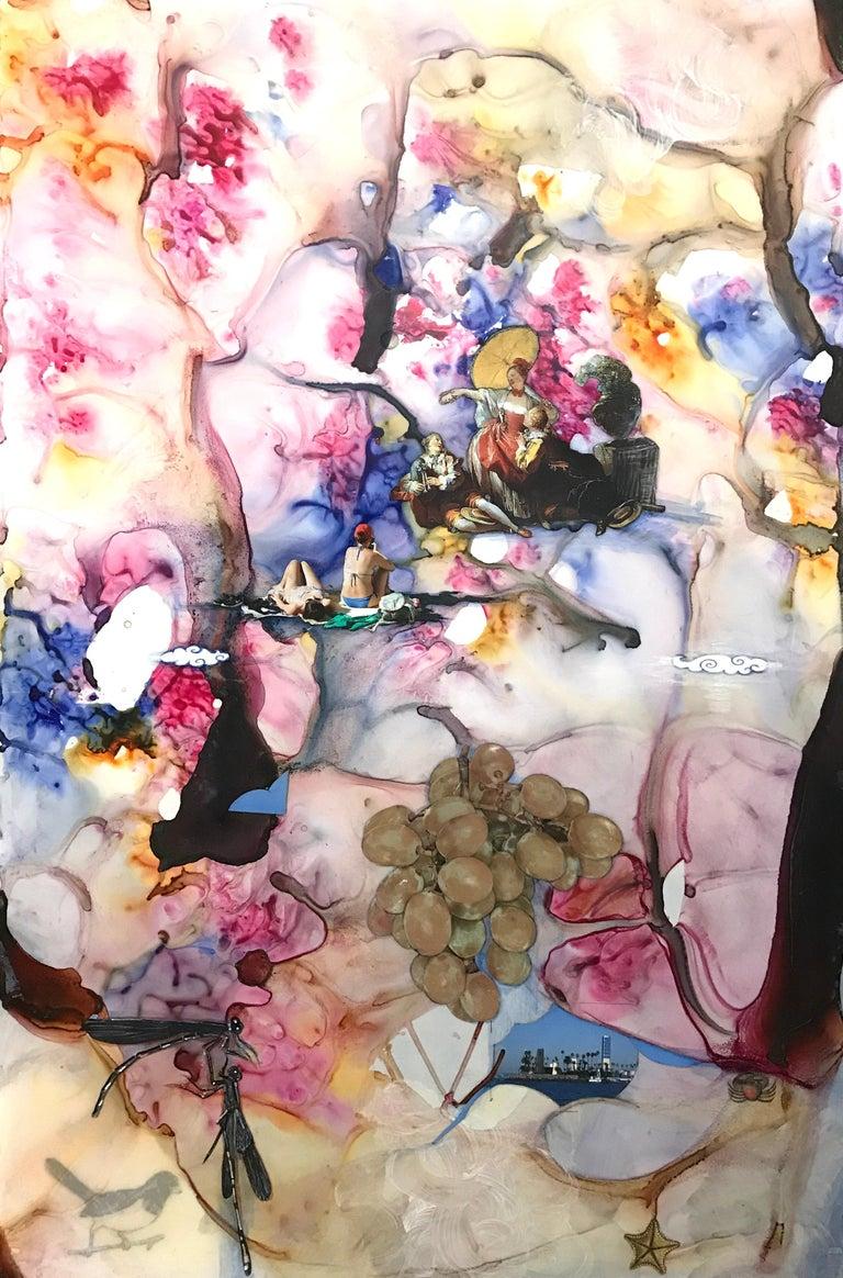 Barbara Strasen Abstract Painting - Rococo Modo, bright pink surreal mixed media on board
