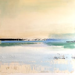 BLUE HORIZON, Oil on canvas, Palette knife painting