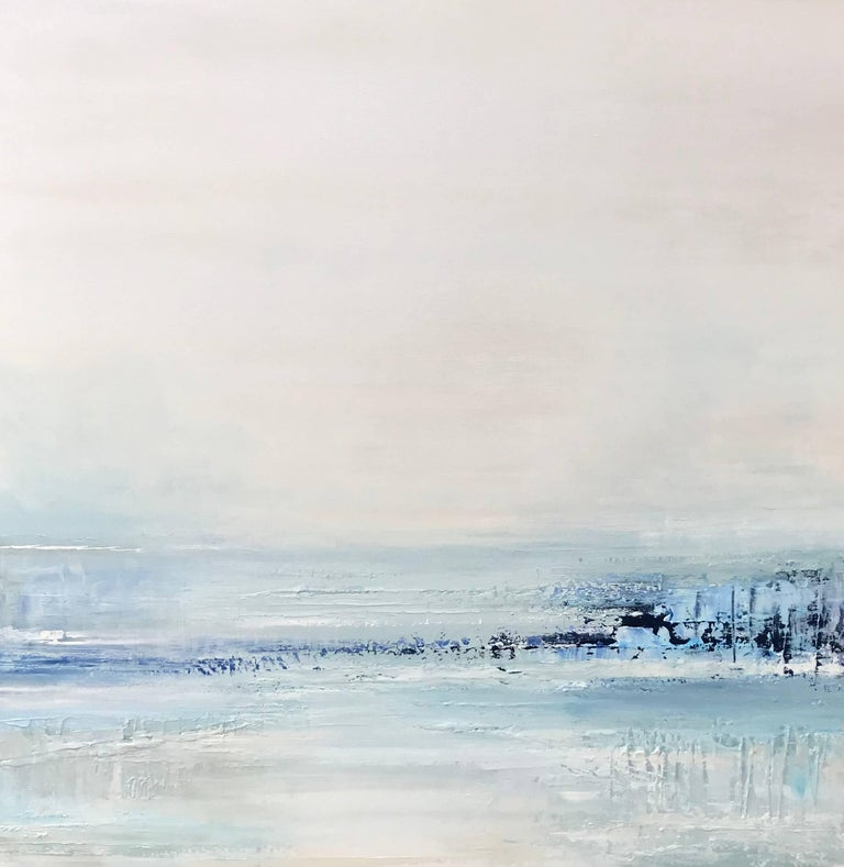 """Cool Blue Water"" Large Square Abstract Landscape Painting"