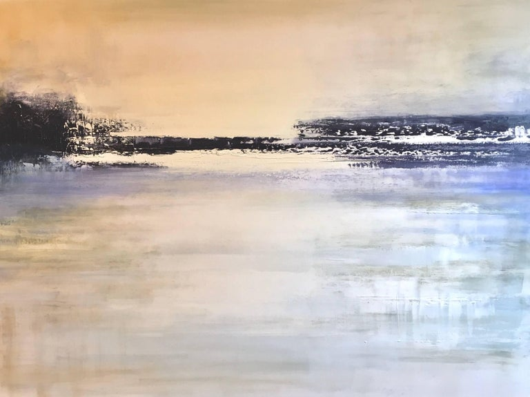 Point I, Large Horizontal Oil on Canvas Abstract Landscape Painting