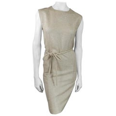 BARBARA TFANK Size 6 Metallic Silver Beige Textured Tie Belt Cocktail Dress 2012