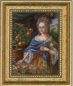 Barbara Valentine RMS - Contemporary Oil Miniature, Baroque Woman with Oranges