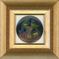 Barbara Valentine RMS - Contemporary Oil Miniature, Parrots on a Sevres Vase