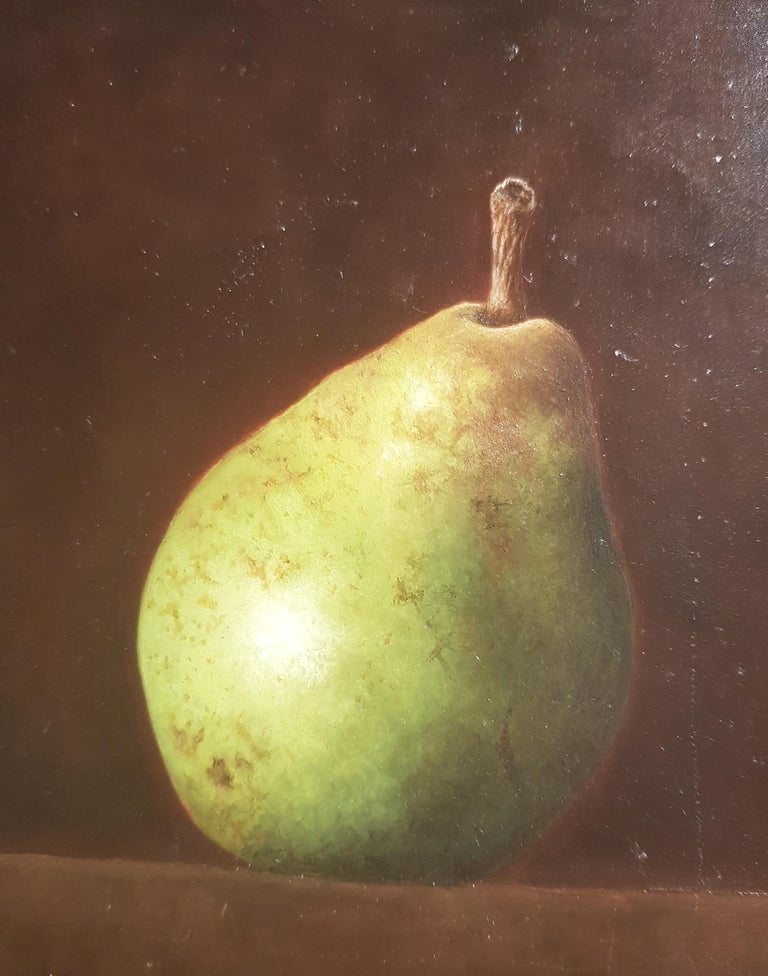 Contemporary Realist Still-Life 'Pear & Antique Glass' by Barbara Vanhove For Sale 3