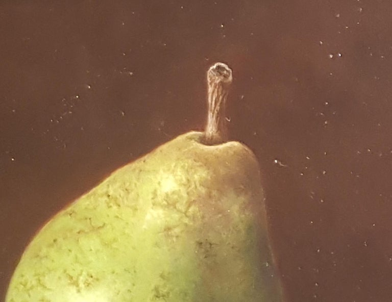 Contemporary Realist Still-Life 'Pear & Antique Glass' by Barbara Vanhove For Sale 5
