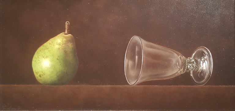 'Pear & Antique Glass' by Barbara Vanhove is an incredible Contemporary Realist Still-Life painting.   Barbara was born in Watermael-Boisfort in Belgium in 1974. She showed an incredible natural talent early on in her life and after school she