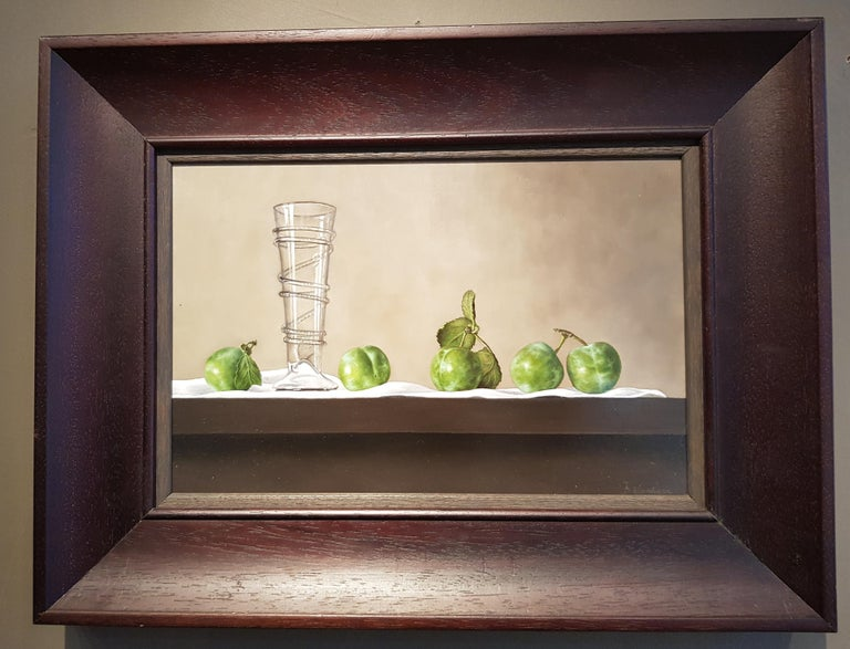 Contemporary Still-Life Painting 'Greengages and Glass' by Barbara Vanhove For Sale 1
