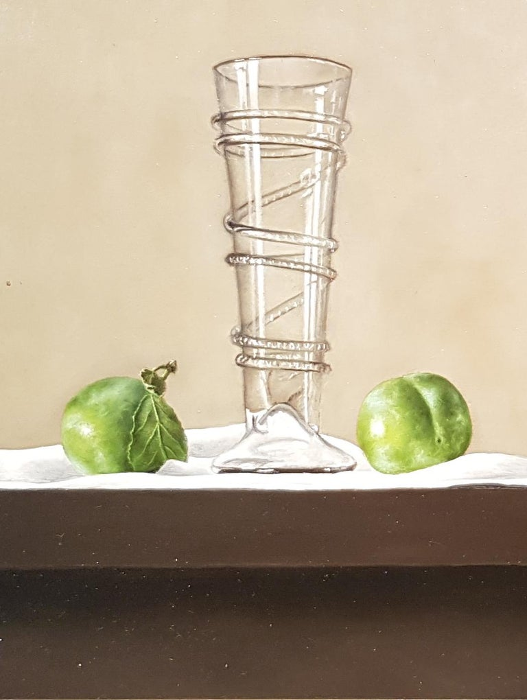 Contemporary Still-Life Painting 'Greengages and Glass' by Barbara Vanhove For Sale 2