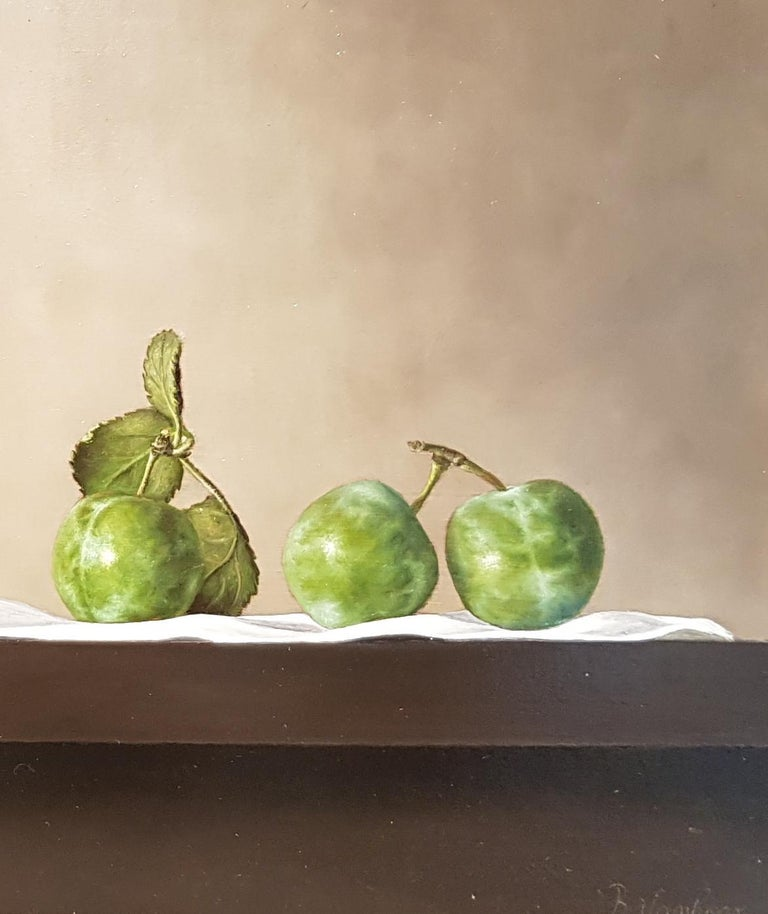 Contemporary Still-Life Painting 'Greengages and Glass' by Barbara Vanhove For Sale 3