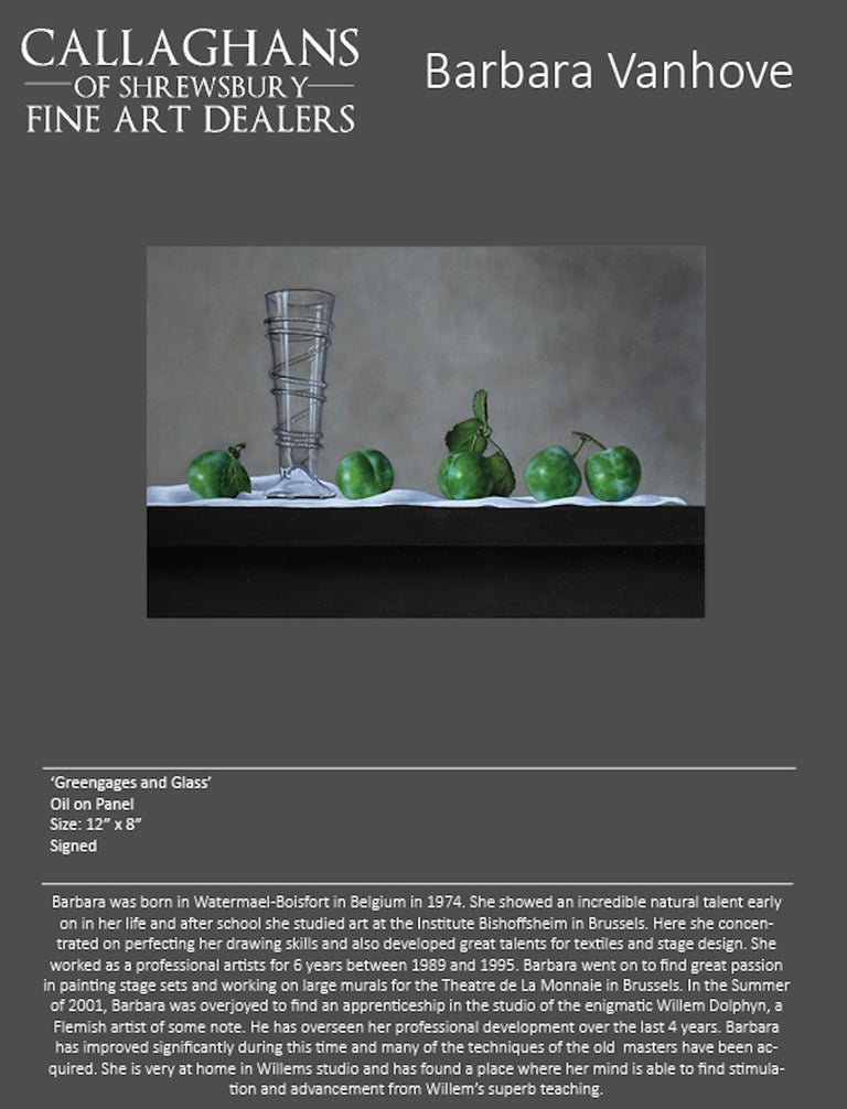 Contemporary Still-Life Painting 'Greengages and Glass' by Barbara Vanhove For Sale 4