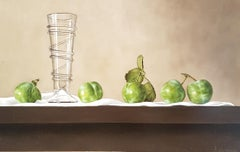 Contemporary Still-Life Painting 'Greengages and Glass' by Barbara Vanhove