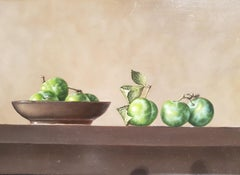 Contemporary Still Life Painting 'Plums on a Small Plate' by Barbara Vanhove