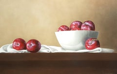 Contemporary Still-Life Painting 'Red Plums' by Barbara Vanhove