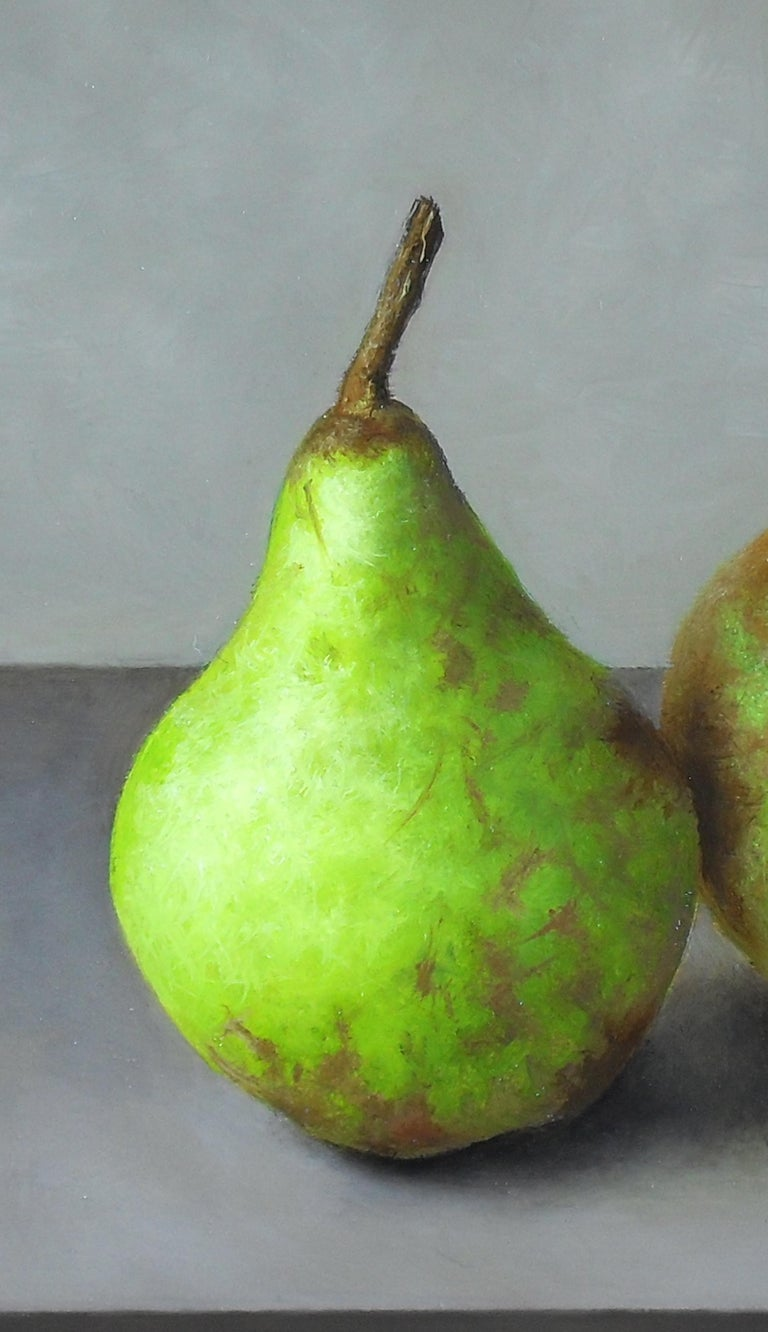 Contemporary Still-Life Painting 'Trio of Pears' by Barbara Vanhove  For Sale 1