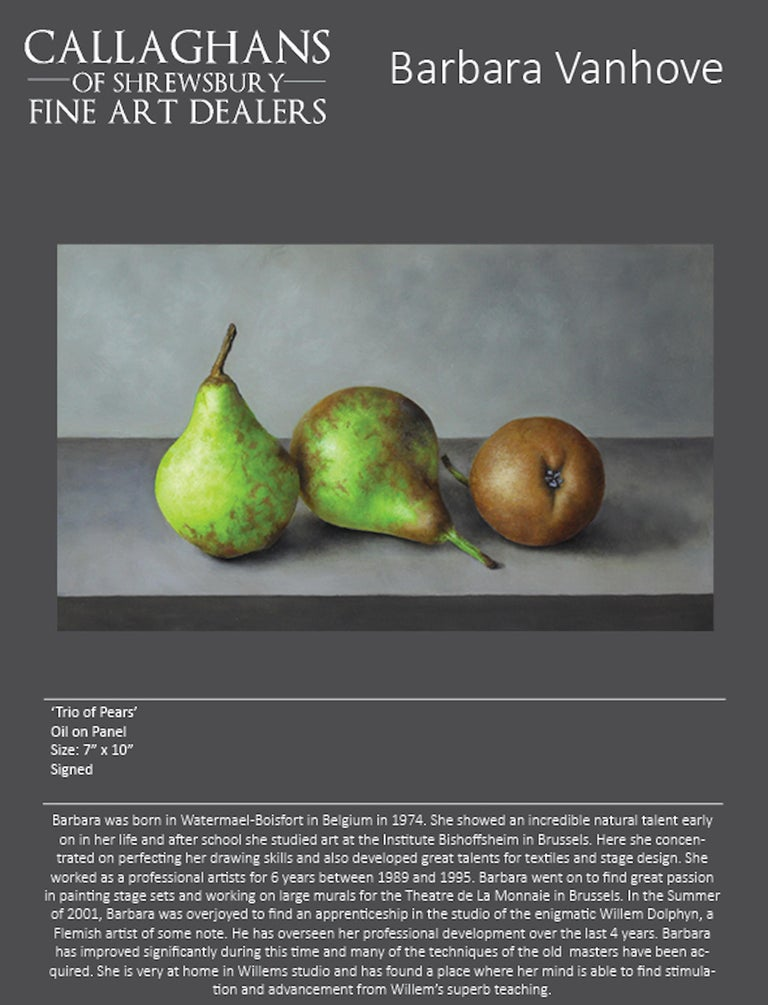 Contemporary Still-Life Painting 'Trio of Pears' by Barbara Vanhove  For Sale 3