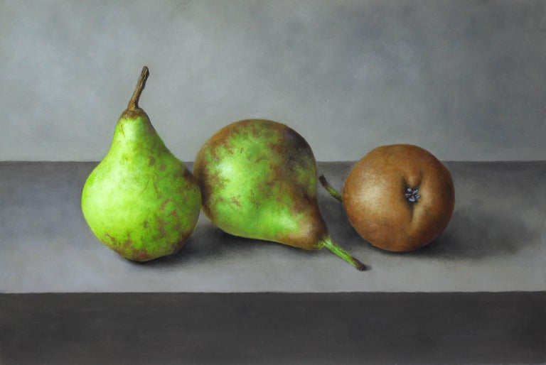 Trio of Pears is a stunning Still Life painting that would make a welcome addition to anyones collection.   The soft green hues work beautifully with the soft grey background. The detail in the pears are exquisite. You could almost pick them up and