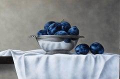 Still-Life Painting 'Damson Reflection' by Barbara Vanhove akin to Dutch Masters