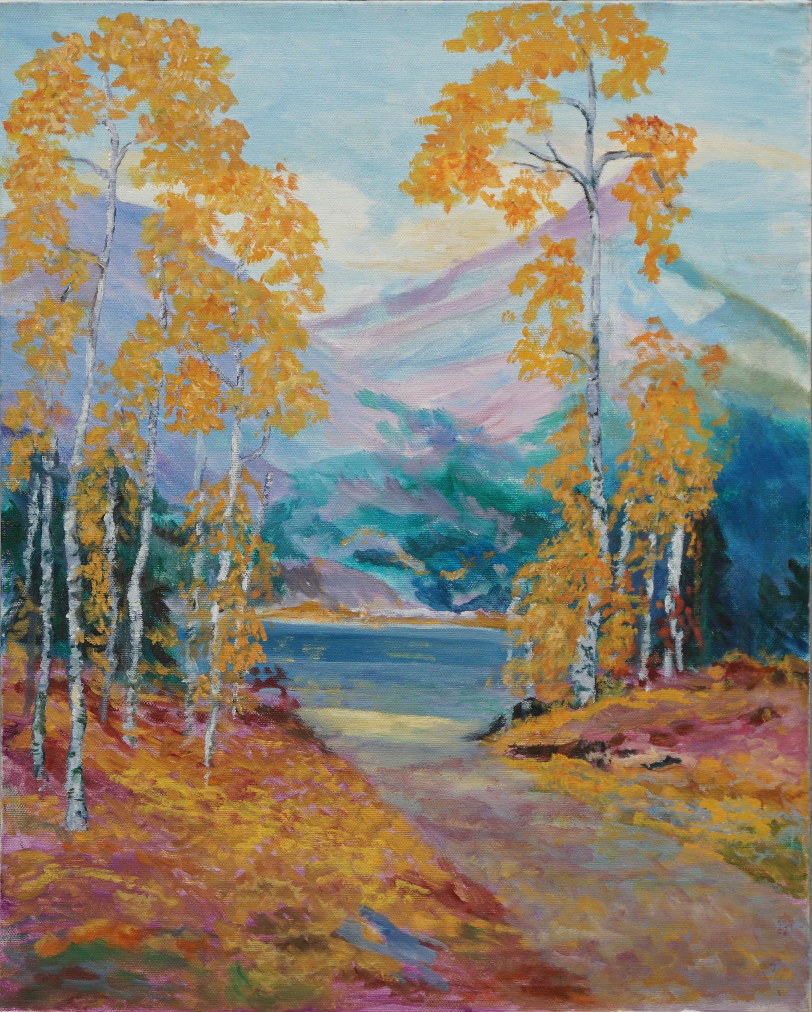 Aspens in Autumn Landscape