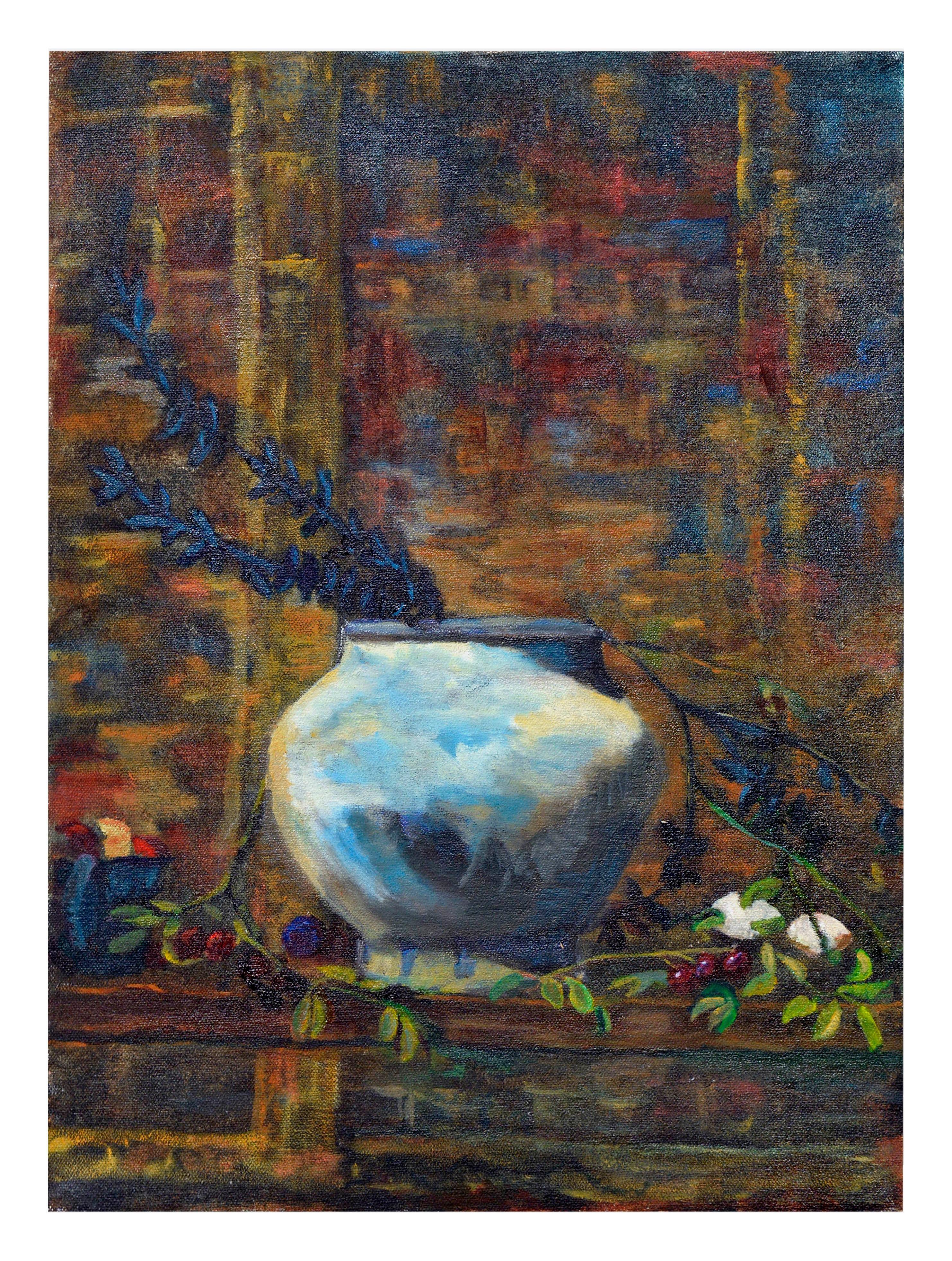 Modernist Blue Vase Still Life