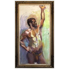 Barbara Yeterian Abstract Male Nude Study Painting, circa 1960s